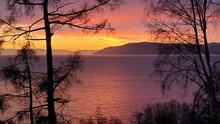 Purple Sunset On Lake Baykal