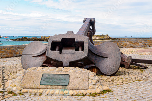 The anchor of the tanker Amoco-Cadiz, which ran aground at Portsall in 1978, causing an unprecedented oil spill Canvas Print