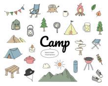 手書きのキャンプのイラストのセット/アイコン/おしゃれ/かわいい