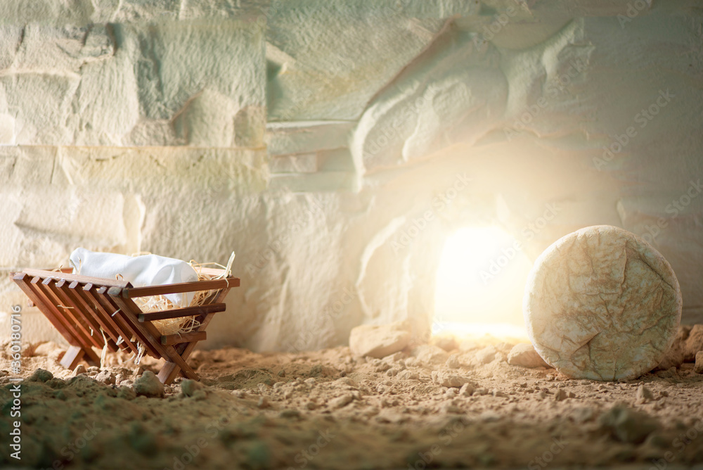 Fototapeta Chronology of Jesus life. Christian Christmas and Easter concept. Born to Die, Born to Rise. Wooden manger and empty tomb background. Jesus - reason for season. Salvation, Messiah, Emmanuel