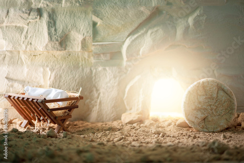 Chronology of Jesus life. Christian Christmas and Easter concept. Born to Die, Born to Rise. Wooden manger and empty tomb background. Jesus - reason for season. Salvation, Messiah, Emmanuel