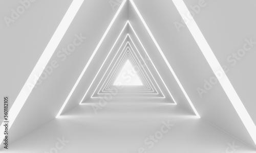 Obrazy powiększające wnętrze   futuristic-triangle-tunnel-white-abstract-minimal-twisted-corridor-white-light-rays-3d