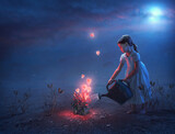 Fototapeta Natura - Little girl and hearts