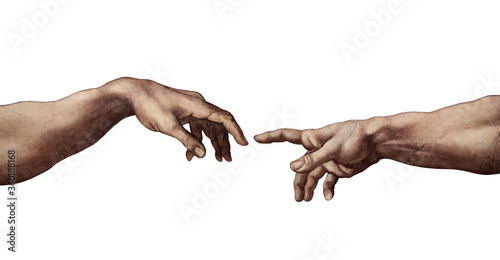 Reaching hands close up detail from The Creation of Adam of Michelangelo fresco detail illustration repro isolated on white background Canvas