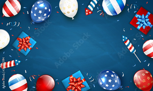 Obraz Blue Background with Balloons and Independence Day Fireworks - fototapety do salonu