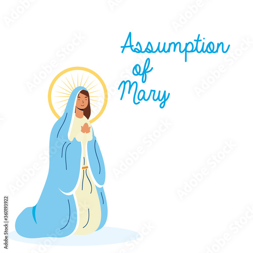 Fotografiet miraculous virgin assumption of mary with lettering