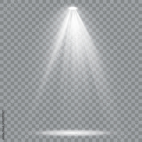 Obraz Set of golden spotlight isolated. White Yellow warm lights. - fototapety do salonu