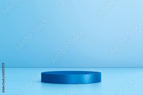 Blank product display on blue studio background with pedestal or podium Tapéta, Fotótapéta
