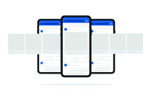 Smartphone With Interface Carousel Post On Social Network. Vector