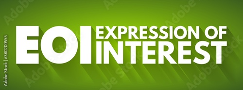Photo EOI - Expression of Interest acronym, business concept background