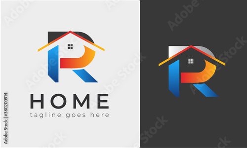 R latter logo house logo designs, real estate icon suitable for info graphics, websites and print media Poster Mural XXL