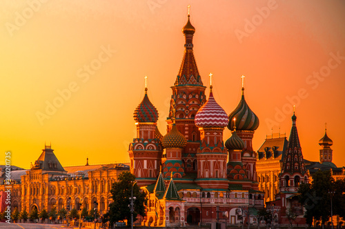 St. Basil's Cathedral on Red Square in Moscow during sunset Canvas