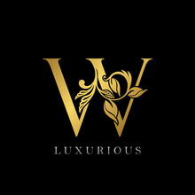 Golden Letter W Luxury Logo Ic...