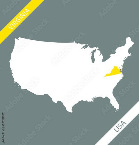 Virginia on USA map vector