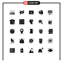 Group Of 25 Modern Solid Glyph...