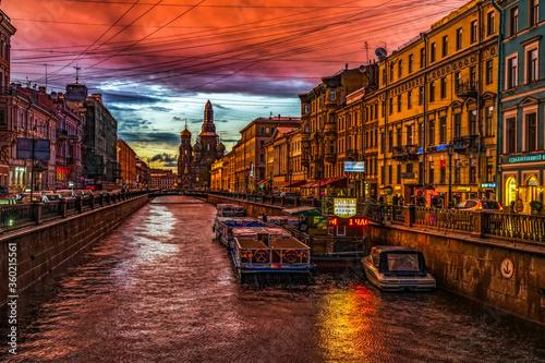 Fotomural Sunset in saint Petersburg, Russia