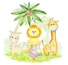 Cute Giraffe, Zebra, Lion Cub, Pelican, Under A Palm Tree. Cute Tropical Animals In Cartoon Style. Watercolor Concept, On An Isolated Background.