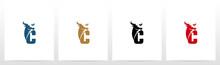 Buffalo Head On Letter Logo De...
