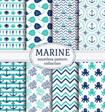 Set Of Marine And Nautical Backgrounds In Navy Blue, Turquoise And White Colors. Sea Theme. Cute Seamless Patterns Collection. Vector Illustration.