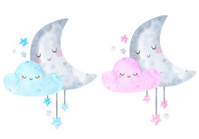 Cute Posters With Moon, Stars,...