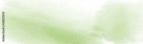 Photo Panoramic texture of realistic green watercolor on a white background - Vector