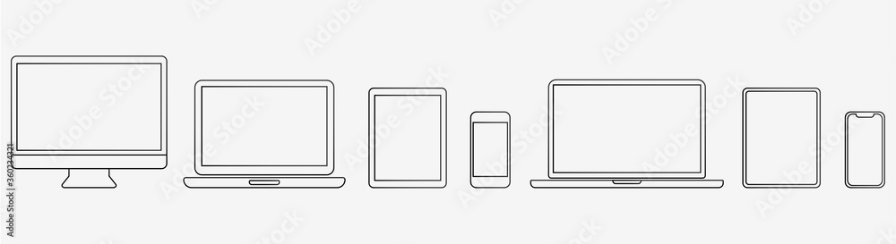 Fototapeta Device Icons Set: Desktop Computer, Laptop, Tablet and Smartphone. Outline illustration for Web and App. Stock Vector