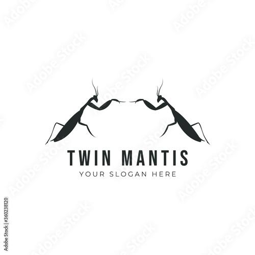 Fototapeta Mantis logo design. Vector design of silhouette mantis