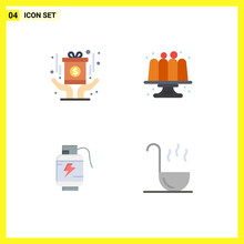 4 User Interface Flat Icon Pack Of Modern Signs And Symbols Of Award, Battery, Fund, Cake, Charg