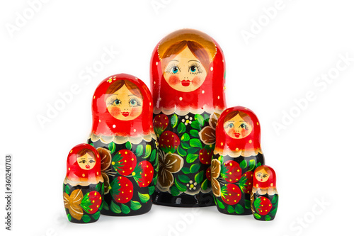 Fotografering wooden Russian dolls in red, isolate on a white background