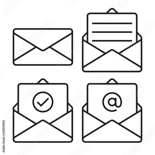 Fototapeta Set of mail envelope icons
