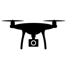 Camera Mounted On Drone Silhouette Icon