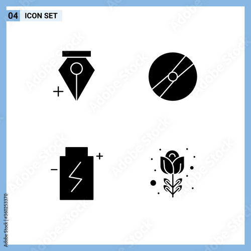 Set of 4 Vector Solid Glyphs on Grid for add, eco, cinema, pokeball, energy фототапет
