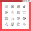 Mobile Interface Outline Set of 16 Pictograms of gear, filter, arrow, cog, lock