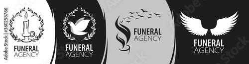 Fotografiet Vector logo of funeral and memorial services