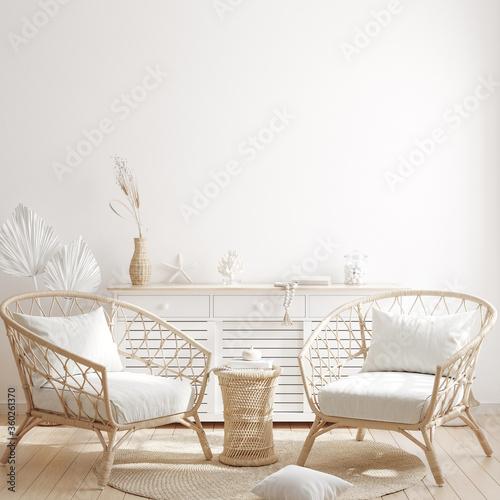 Fototapeta Mock up frame in home interior background with minimal decor, 3d render obraz