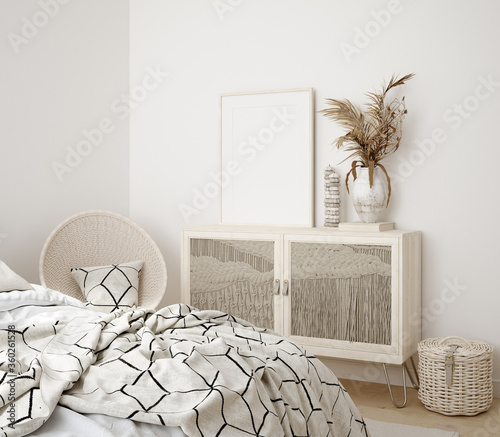 Mock up frame in bedroom interior background, 3d render