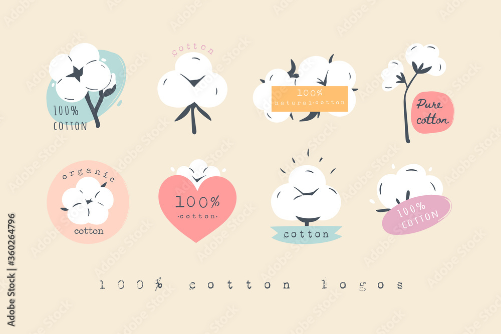 Fototapeta Hundred percent Cotton Logos, Icons. Various Cotton flower plants, fluffy balls. Natural Eco organic textile, fabric concept. Hand drawn Vector set. Trendy illustration. All elements are isolated
