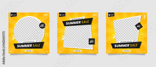 Yellow summer sale social media post template Fotobehang