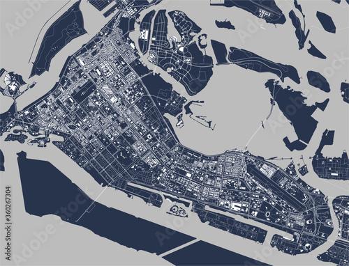map of the city of Abu Dhabi, UAE Canvas Print