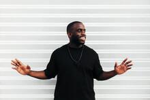 Happy Black Man Posing And Smi...