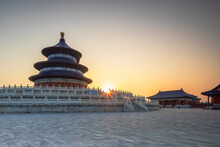 Temple Of Heaven At Sunrise, Beijing, China