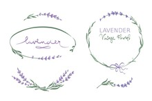 Frames For Wedding Invitation. Set Vector Design Elements, Wreaths And Bouquets Of Lavender.