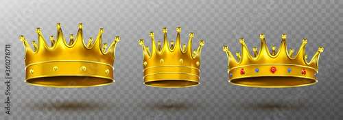 Fototapeta Golden crowns for king or queen Crowning headdress for Monarch. Royal gold monarchy medieval coronation symbol, imperial sign isolated on transparent background. Realistic 3d vector illustration, set obraz