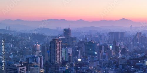 View of Seoul at dawn, South Korea - 360280780