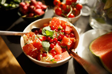 High Angle View Of Fruit Salad...