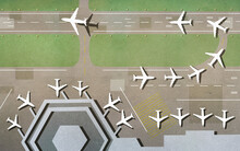 Illustration Of Airplanes On Runway At Airport