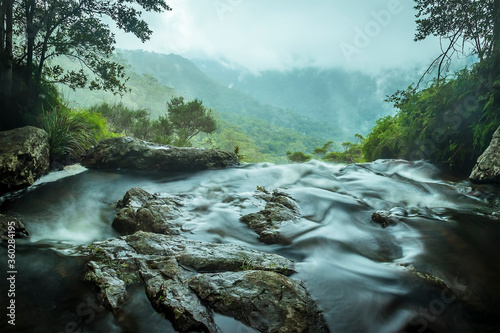 Photo A stream reaches the top of the Twin Falls in Springbrook National Park, Queensl