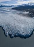 Aerial view of glacier by lagoon, Knik Glacier, Palmer, Alaska, USA