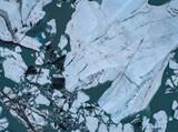 Drone view of icebergs in lagoon, Lake George, Palmer, Alaska, USA
