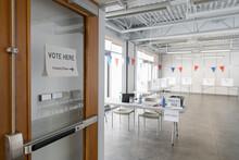 Vote Sign On Door At Empty Ame...